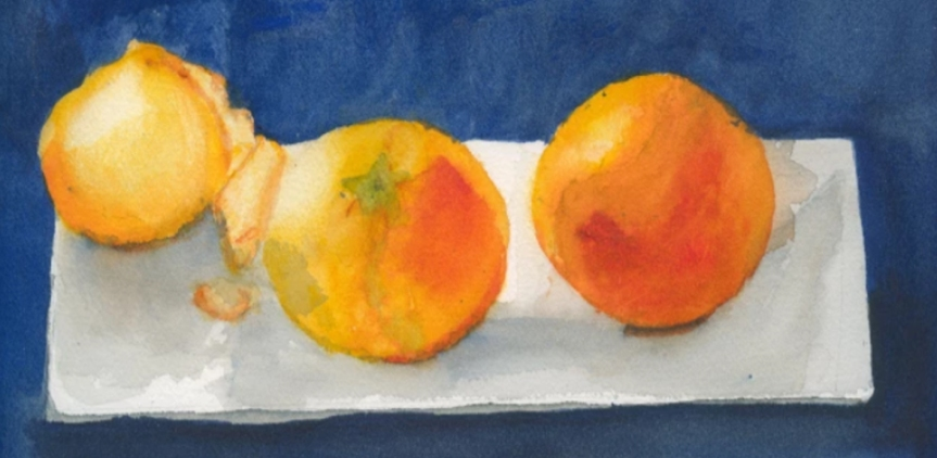 Watercolor painting of three clementine fruits on a paper towel over a dark blue background