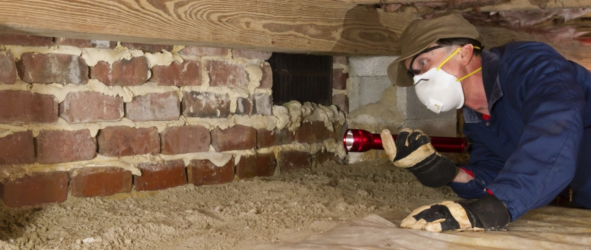 Inspector wearing appropriate safety and work gear uses a flashlight to examine brickwork in a residential crawlspace