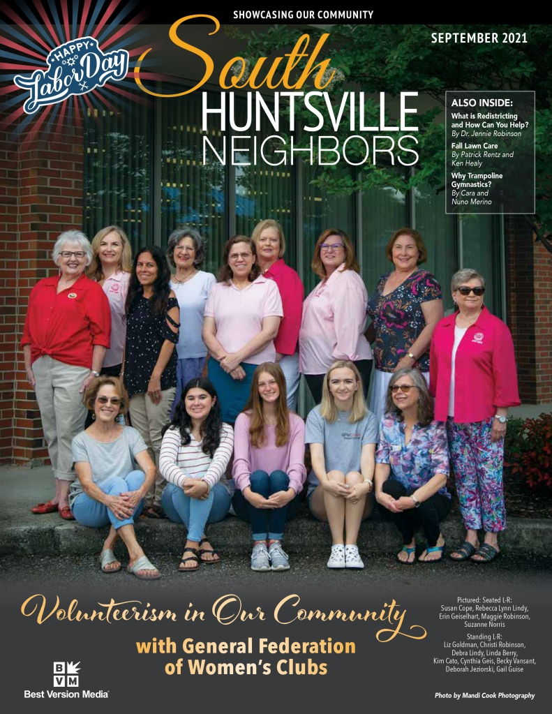 Group of 11 caucasian women and three teenage girls standing together in front of the soon to be former location of the South Huntsville Library. They are members of the General Federation of Women's Clubs, and the photo is to commemorate their volunteerism for the Huntsville, Alabama community.
